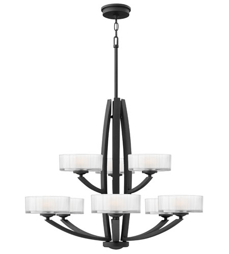 Hinkley Lighting Meridian 9 Light Chandelier in Satin Black 3878SK