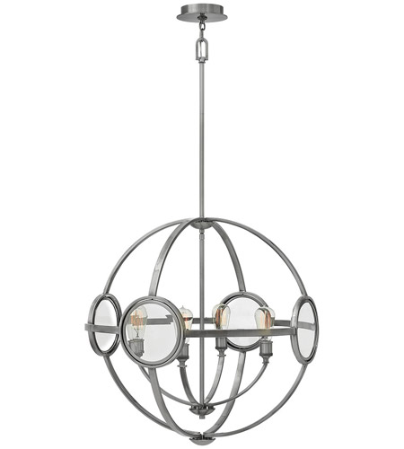 Hinkley 3924PL Fulham 4 Light 26 inch Polished Antique Nickel Chandelier Ceiling Light, Clear Beveled Glass photo thumbnail