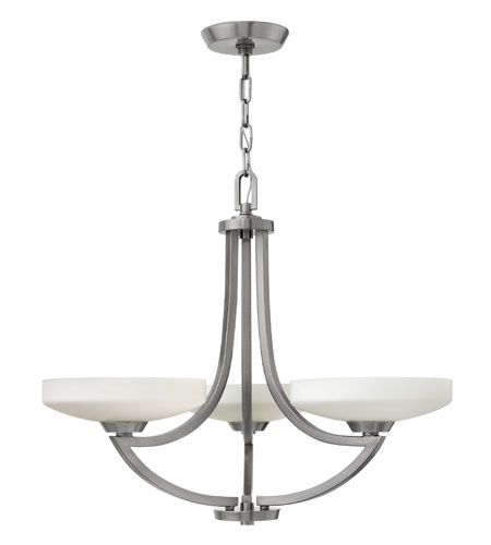 Hinkley 3963PL Darien 3 Light 27 inch Polished Antique Nickel Chandelier Ceiling Light, Etched Opal Glass photo