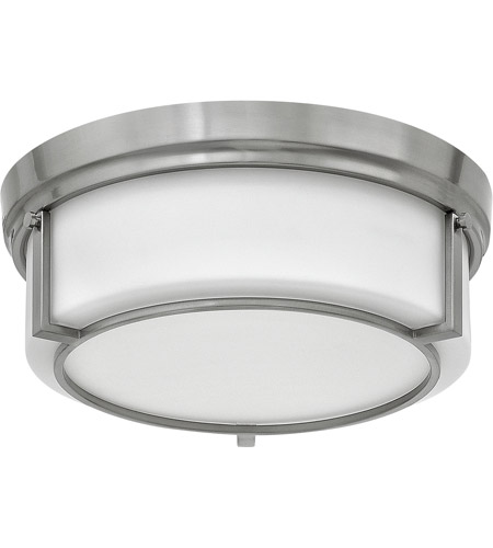 Hinkley 3972BN Weston 3 Light 15 inch Brushed Nickel Foyer Flush Mount Ceiling Light, Etched Opal Glass photo