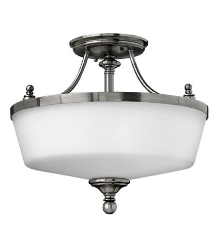 Hinkley Lighting Easton 3 Light Semi Flush in Polished Antique Nickel 3981PL