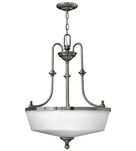 Hinkley Lighting Easton 3 Light Hanging Foyer in Polished Antique Nickel 3982PL