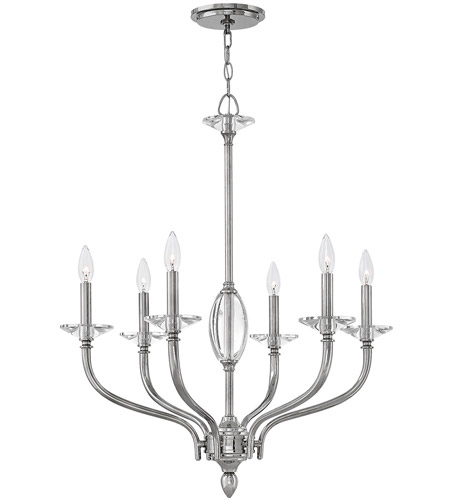 Hinkley 4006PN Surrey 6 Light 28 inch Polished Nickel Chandelier Ceiling Light photo