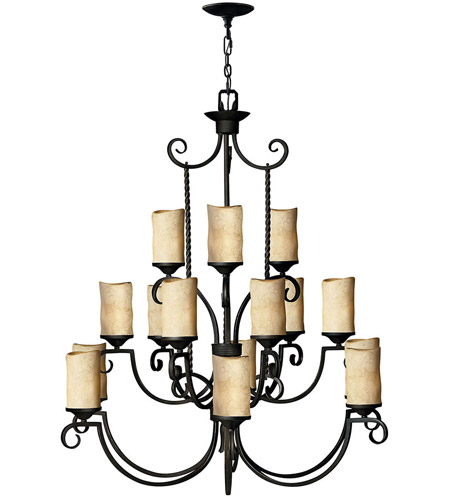 Hinkley 4019OL Casa 15 Light 42 inch Olde Black Chandelier Ceiling Light, 3 Tier photo