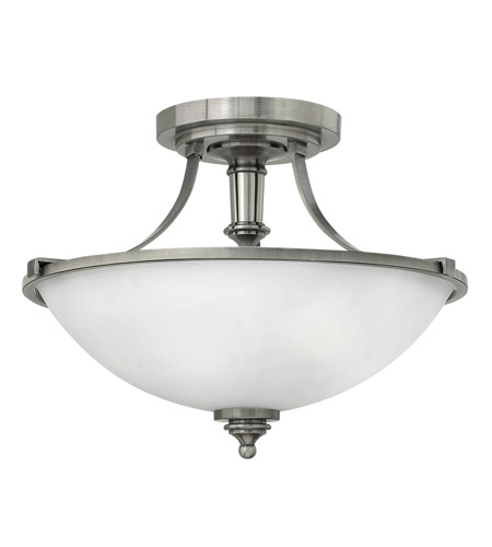 Hinkley 4021AN-GU24 Truman 3 Light 16 inch Antique Nickel Semi-Flush Mount Ceiling Light in GU24, Etched Opal Glass photo