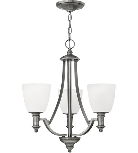 Hinkley 4023AN Truman 3 Light 20 inch Antique Nickel Chandelier Ceiling Light, Etched Opal Glass photo