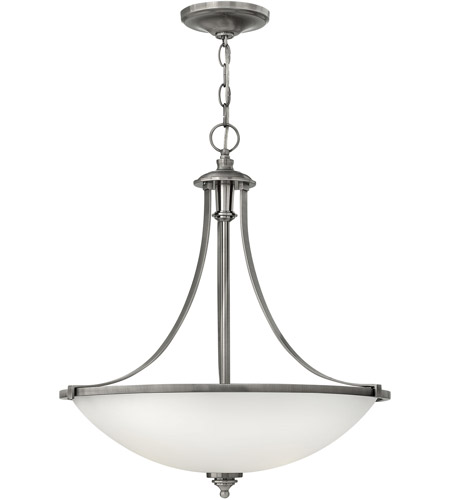 Hinkley 4024AN Truman 4 Light 21 inch Antique Nickel Foyer Pendant Ceiling Light, Etched Opal Glass photo