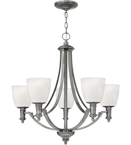 Hinkley 4025AN Truman 5 Light 27 inch Antique Nickel Chandelier Ceiling Light, Etched Opal Glass photo
