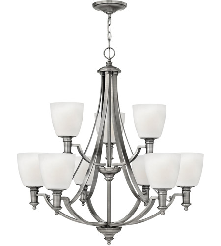 Hinkley 4028AN Truman 9 Light 3 inch Antique Nickel Chandelier Ceiling Light, Etched Opal Glass photo