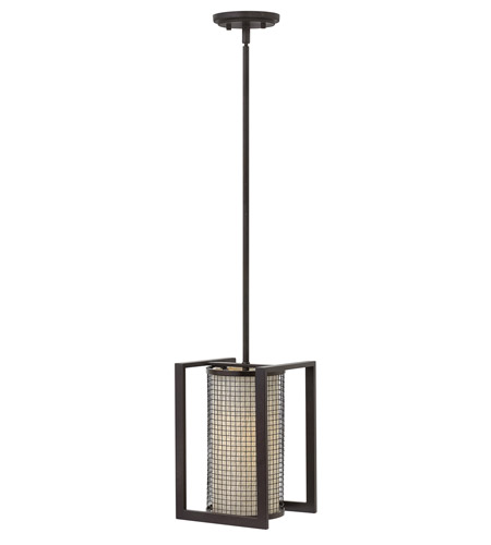 Hinkley 4037RB Renzo 1 Light 8 inch Regency Bronze Mini-Pendant Ceiling Light, Metallic Linen Shade photo