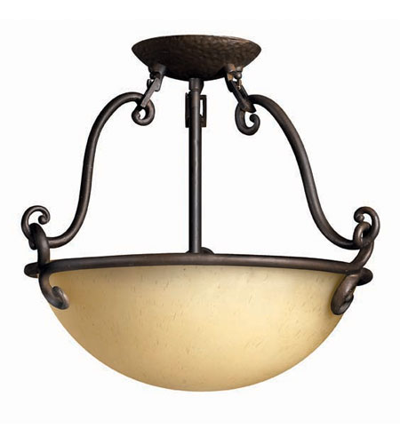 Hinkley Lighting Gold Hill 2 Light Semi Flush in Olde Black 4051OL photo