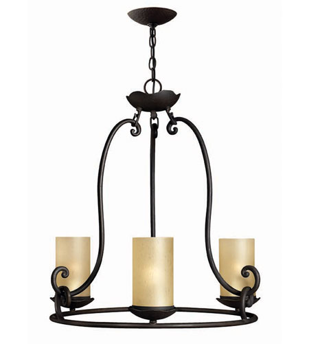 Hinkley Lighting Gold Hill 3 Light Chandelier in Olde Black 4053OL photo