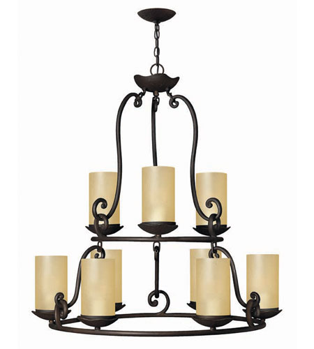 Hinkley Lighting Gold Hill 9 Light Chandelier in Olde Black 4058OL