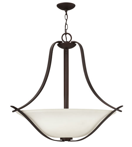 Hinkley 4062VZ Lauren 3 Light 33 inch Victorian Bronze Foyer Ceiling Light, Etched Opal Glass photo