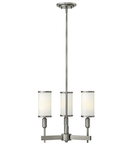 Hinkley 4071BN Princeton 3 Light 17 inch Brushed Nickel Foyer Ceiling Light, Etched Opal Glass photo