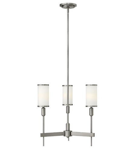 Hinkley 4073BN Princeton 3 Light 21 inch Brushed Nickel Chandelier Ceiling Light, Etched Opal Glass photo