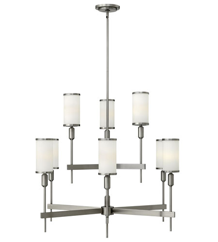 Hinkley 4078BN Princeton 9 Light 34 inch Brushed Nickel Chandelier Ceiling Light, Etched Opal Glass photo