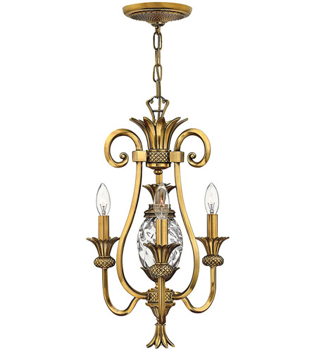 Hinkley Lighting Plantation 3 Light Chandelier in Burnished Brass 4103BB