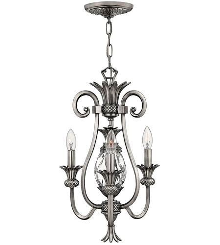 Hinkley Lighting Plantation 3 Light Chandelier in Polished Antique Nickel 4103PL