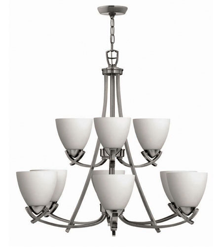 Hinkley Soho 2 Tier 9Lt Chandelier in Polished Antique Nickel 4128PL photo