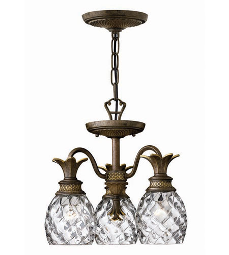 Hinkley Lighting Plantation 3 Light Chandelier in Pearl Bronze 4143PZ