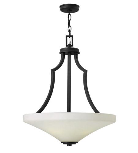 Hinkley 4193TB Spencer 4 Light 20 inch Textured Black Foyer Ceiling Light in Etched Painted White Inside photo