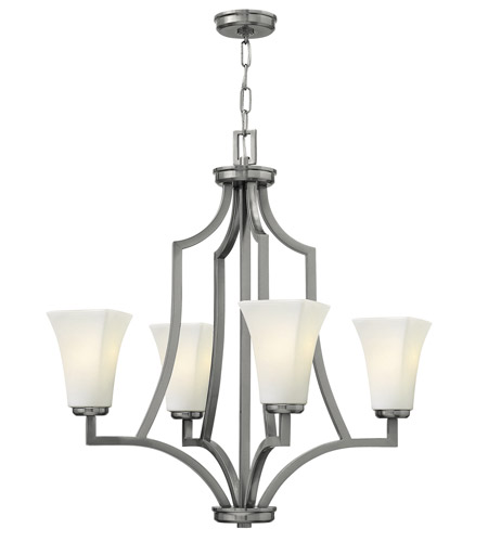 Hinkley 4194BN Spencer 4 Light 26 inch Brushed Nickel Chandelier Ceiling Light, Etched Opal Glass photo
