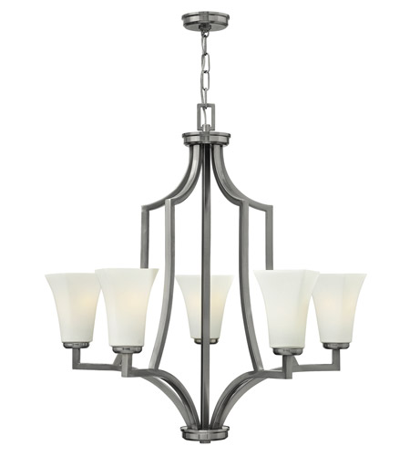 Hinkley 4195BN Spencer 5 Light 29 inch Brushed Nickel Chandelier Ceiling Light, Etched Opal Glass photo