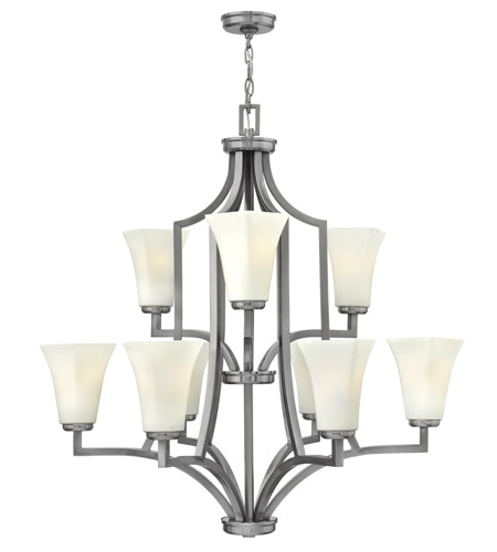 Hinkley 4198BN Spencer 9 Light 32 inch Brushed Nickel Chandelier Ceiling Light, Etched Opal Glass photo