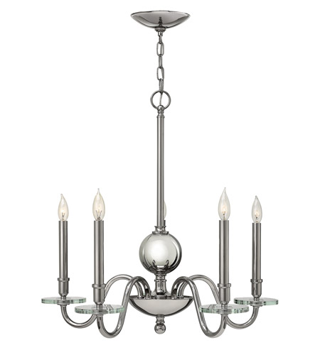 Hinkley 4205PN Everly 5 Light 28 inch Polished Nickel Chandelier Ceiling Light, Crystal Bobeches photo