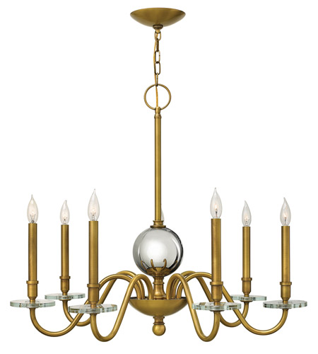 Hinkley 4206HB Everly 7 Light 34 inch Heritage Brass Chandelier Ceiling Light, Crystal Bobeches photo