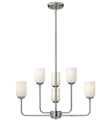 Hinkley 4216PN Harlow 6 Light 25 inch Polished Nickel Chandelier Ceiling Light, Etched Opal Glass photo