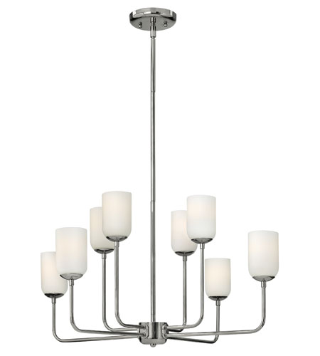 Hinkley 4218PN Harlow 8 Light 29 inch Polished Nickel Chandelier Ceiling Light, Etched Opal Glass photo