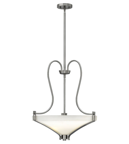 Hinkley 4224BN Channing 3 Light 21 inch Brushed Nickel Foyer Ceiling Light, Etched Opal Glass photo