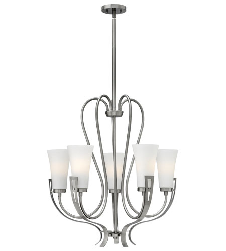 Hinkley 4225BN Channing 5 Light 27 inch Brushed Nickel Chandelier Ceiling Light, Etched Opal Glass photo