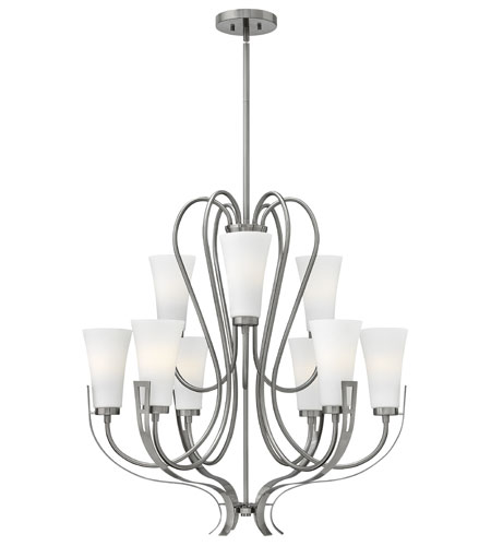 Hinkley 4228BN Channing 9 Light 32 inch Brushed Nickel Chandelier Ceiling Light, Etched Opal Glass photo