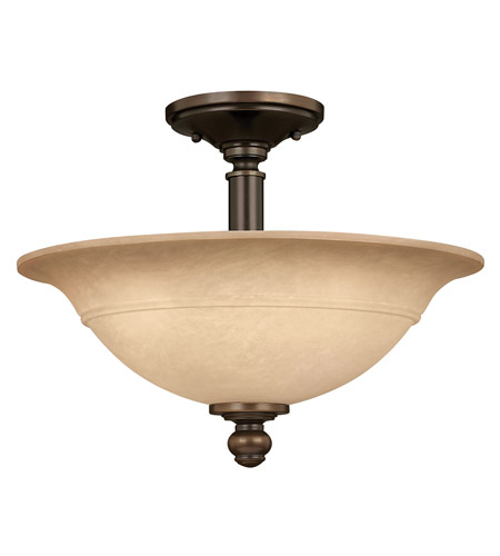 Hinkley 4242OB Plymouth 3 Light 16 inch Olde Bronze Semi Flush Ceiling Light in Mocha-Colored photo