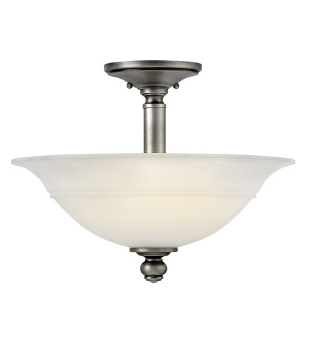 Hinkley 4242PL Plymouth 3 Light 16 inch Polished Antique Nickel Semi-Flush Mount Ceiling Light, Etched Opal Glass photo