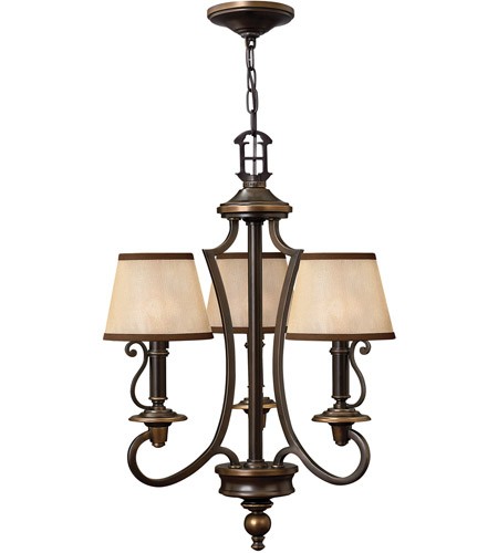 Hinkley 4243OB Plymouth 3 Light 18 inch Olde Bronze Chandelier Ceiling Light in Ivory Silk Shades photo