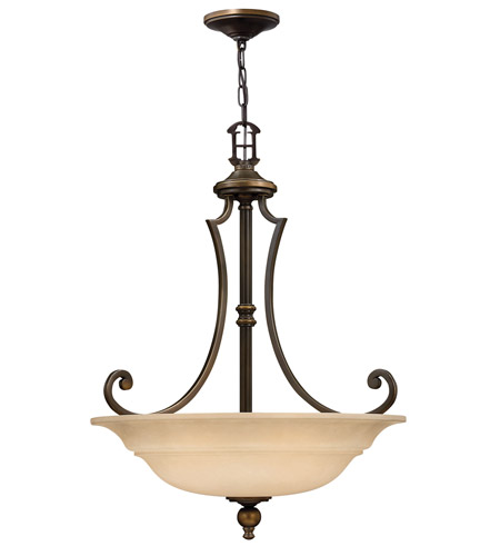 Hinkley 4244OB Plymouth 3 Light 25 inch Olde Bronze Hanging Foyer Ceiling Light in Mocha-Colored photo