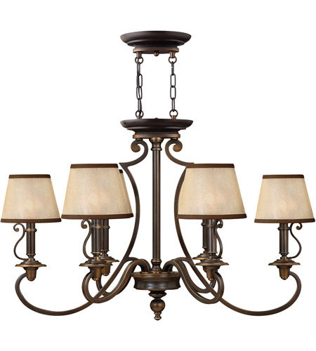 Hinkley 4245OB Plymouth 6 Light 34 inch Olde Bronze Chandelier Ceiling Light in Ivory Silk Shades, Oval photo