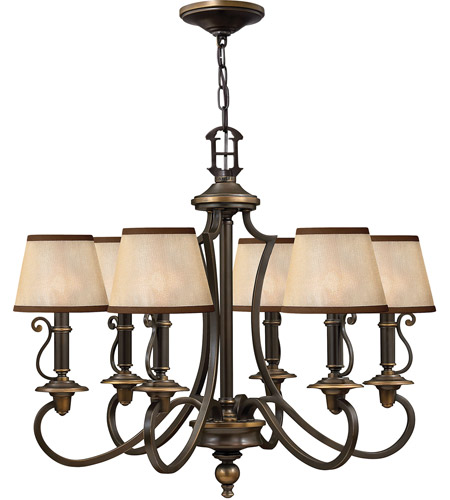 Hinkley 4246OB Plymouth 6 Light 28 inch Olde Bronze Foyer Chandelier Ceiling Light in Ivory Silk Shades photo