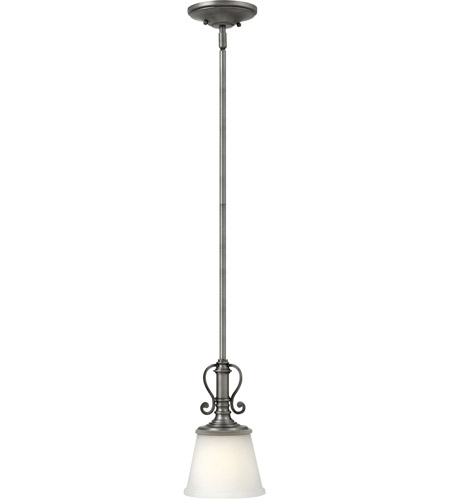 Hinkley 4247pl Plymouth 1 Light 7 Inch Polished Antique Nickel Mini Pendant Ceiling Silver Organza Shade With Decorative Fabric Trim