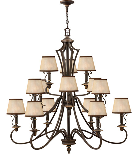 Hinkley 4249OB Plymouth 15 Light 45 inch Olde Bronze Chandelier Ceiling Light in Ivory Silk Shades, 3 Tier photo