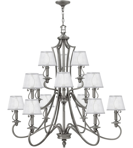 Hinkley 4249PL Plymouth 15 Light 45 inch Polished Antique Nickel Foyer Chandelier Ceiling Light, Silver Organza Shade with Decorative Fabric Trim photo