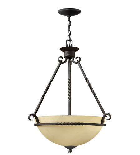 Hinkley 4313OL Casa 3 Light 22 inch Olde Black Hanging Foyer Ceiling Light in Incandescent photo