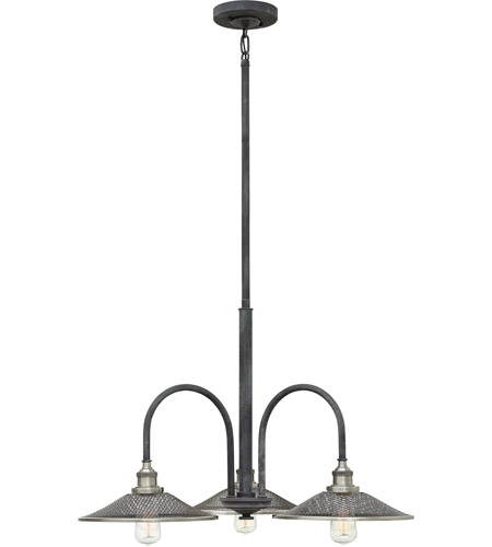 Hinkley Aged Zinc Steel Chandeliers