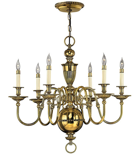 Hinkley 4416BB Cambridge 6 Light 29 inch Burnished Brass Chandelier Ceiling Light photo