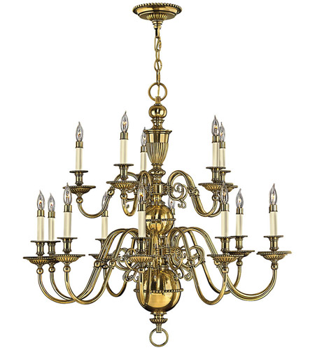 Hinkley 4417BB Cambridge 15 Light 36 inch Burnished Brass Chandelier Ceiling Light, 2 Tier photo