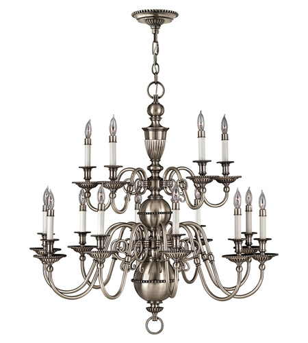 Hinkley 4417PW Cambridge 15 Light 36 inch Pewter Chandelier Ceiling Light, 2 Tier photo